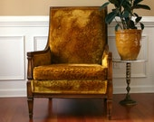 Upholstered Chair. Golden Mustard Velvet High Back Lounge Chair with Button Tufting. Living Room Accent Side Chair. Yellow. Gold.