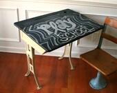School Desk with Chalkboard Top. Shabby Chic Khaki Paint. Industrial Home Decor. Childrens Schoolhouse Play. Elementary. Vestiesteam.