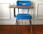 School Desk Storage and Chair. Metal. Plastic. Blue. Industrial Home Decor. Nautical. Water. Metal. Retro. Mod. Triangle. Rhapsodyattic. - RhapsodyAttic