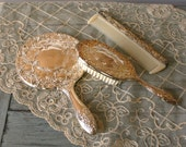 Silver Plated Vanity Set. Brush. Mirror. Comb. Feminine. Romantic. For Her. VestiesTeam. eveteam. Curationnation.