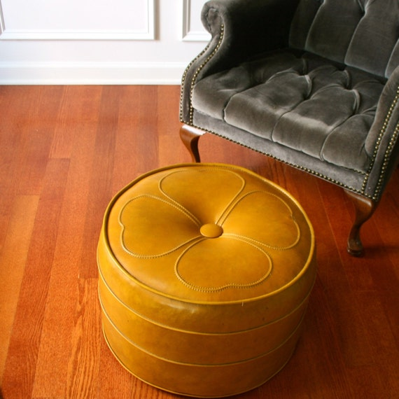 Vintage ottoman hassock mustard yellow gold mid centruy - What is an ottoman ...