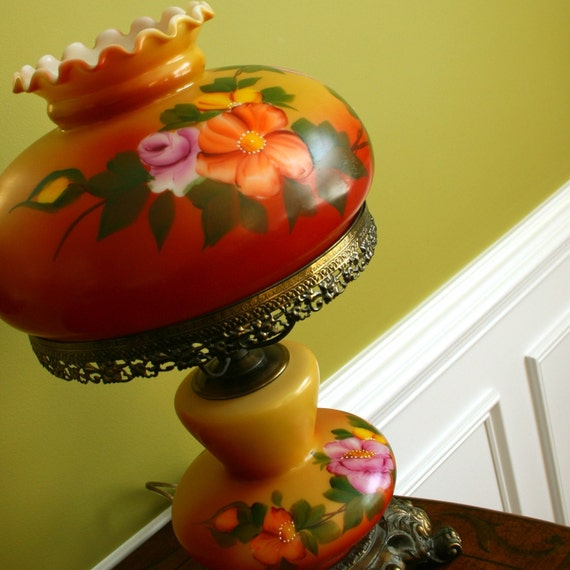 Vintage Parlor Lamp. Hand painted Roses. Wildflowers. Glass Globe Ball Shade. Table Lamp. Orange. Yellow. Victorian. Rhapsody Attic.