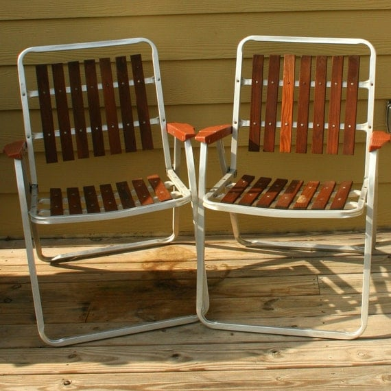 Antique Wooden Kitchen Chairs: Vintage Folding Lawn Chairs. Mid Century Modern. Wooden Slats