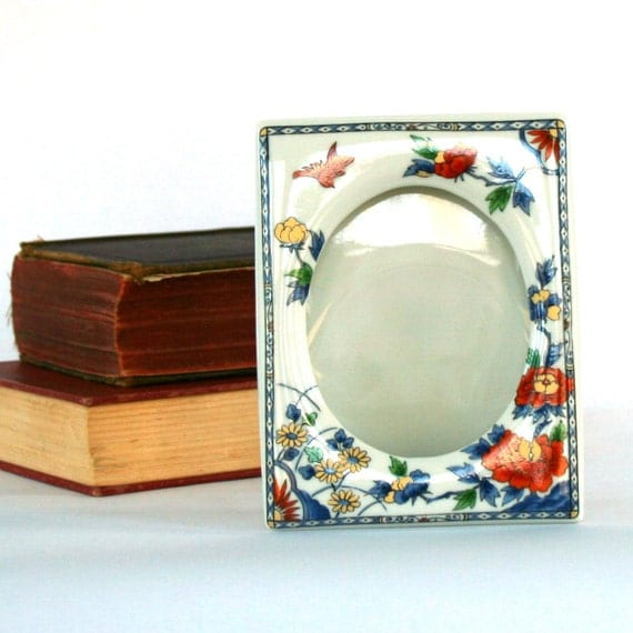Autumn Home Decor. Picture Frame. Chinoiserie. Photo. Porcelain. Blue. Red. Orange. Gold. Takahashi. Birds. Small. Rhapsody Attic.