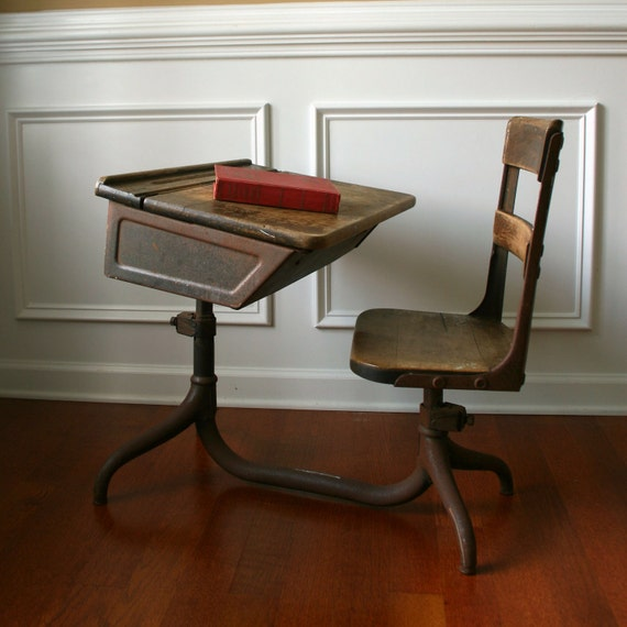 vintage childs school desk and chair 2