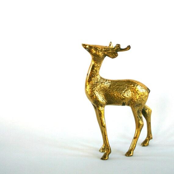 Vintage Brass Deer Figurine. Woodland Animal. Fall. Autumn Home Decor. Golden. Calm. Stag. Turquoise Patina. Christmas Display. Vestiesteam.