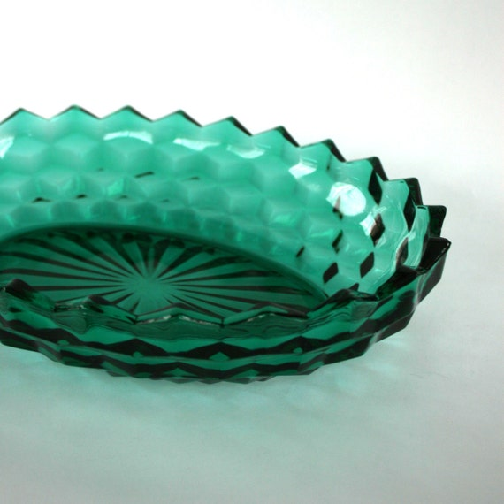Vintage Turquoise Green Oval Bowl. Fostoria American. Blue Green. Oval. Diamond Patter. Starburst. Serving. Salad. Fruit. Dish. Aquamarine.