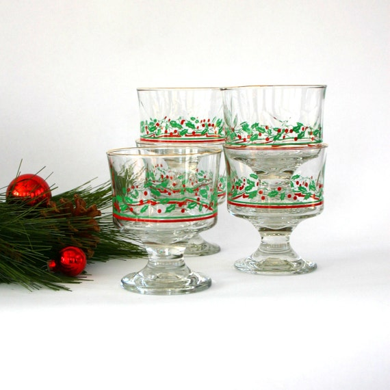Christmas Glassware. Vintage Barware. Holly Glasses. Sherbert Dessert Pedestal Glasses. Eggnog. Holiday Party Decor. Vestiesteam.
