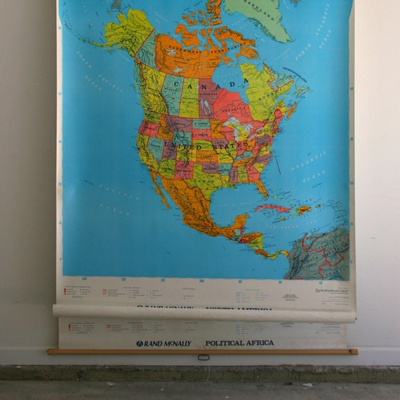 5 in 1 Vintage Classroom Wall Map. Large Vintage Paper Map. World Map. Pull Down. Oversized. Rand McNally. Vintage Map. Geography.