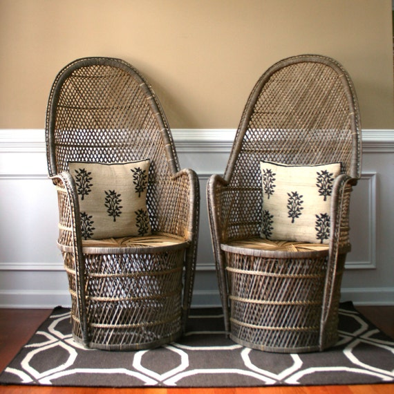 Wicker Chair Pictures: Pair High Fan Back Chairs. Throne Chairs. Armchair. Rattan