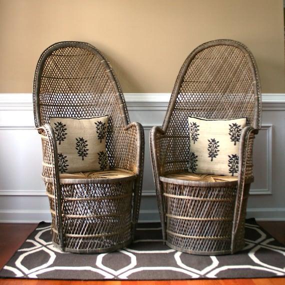 Pair High Fan Back Chairs Throne Chairs Armchair Rattan