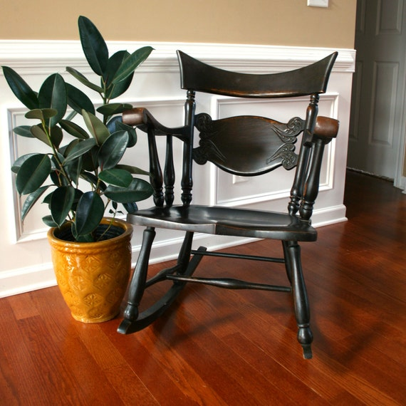 Antique Sikes Rocking Chair. Walnut Brown Stain. Fresh Home Decor. Home and Garden. Summer Patio. Vestiesteam. eveteam.