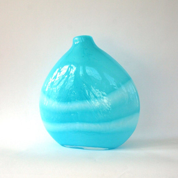Vintage Large Teardrop Vase. Water Aqua Blue White. Stripes. 70s. Round. Glass. Spring Home Decor. Bookshelf Display. Rhapsody Attic.