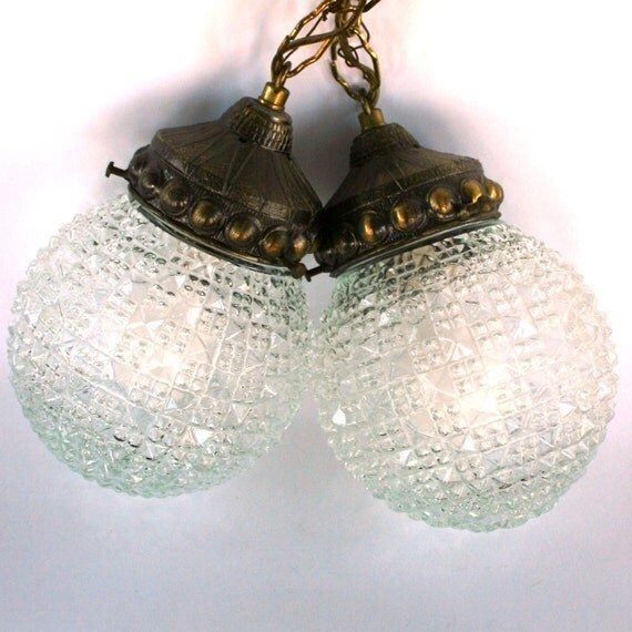 Swag Pendant Lamps. Pair Pendant Lights. Lighting. Glass. Crystal. Brass. Chain Link. Hanging Lamps. Round. Curationnation.
