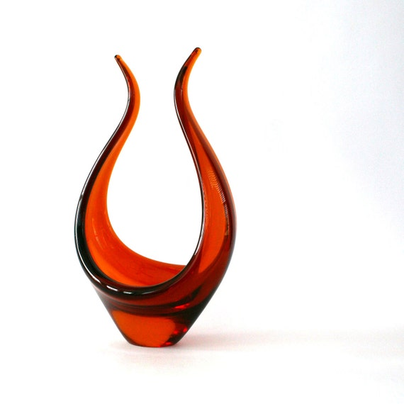 Tangerine Art Glass Bowl Figurine Fire Orange Glass Sculpture Decorative Home Decor Retro Mid Century Home