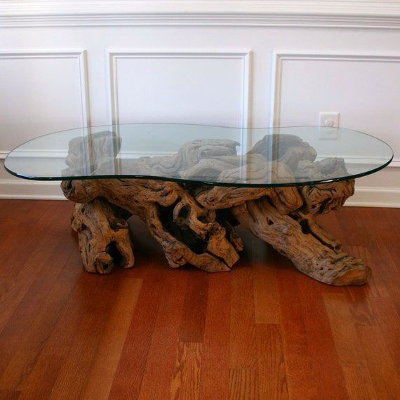 Coffee Table Made From Driftwood: Driftwood Coffee Table With Glass Top. Cocktail. Beach. Zen