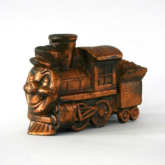 Vintage Coin Bank Toy Train Casey Jones Train Copper Bronze