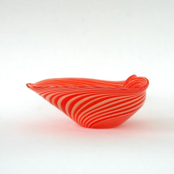 Orange 1970s Art Glass Bowl. Retro Home Decor. Orange and White Stripes. Hand Blown. Vintage Twos Company NY.