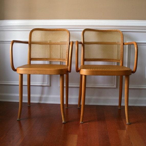 Pair Stendig Chairs. Cane Chairs. Thonet Bentwood. Prague Chair. Mad Men. Mid Century Modern. European. Bohemian Home Decor.