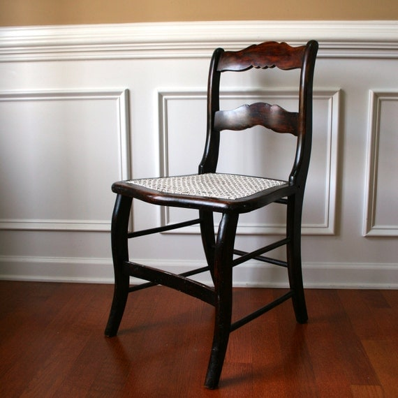 Antique Wood Accent Chair With Caning Desk Boudoir Dining