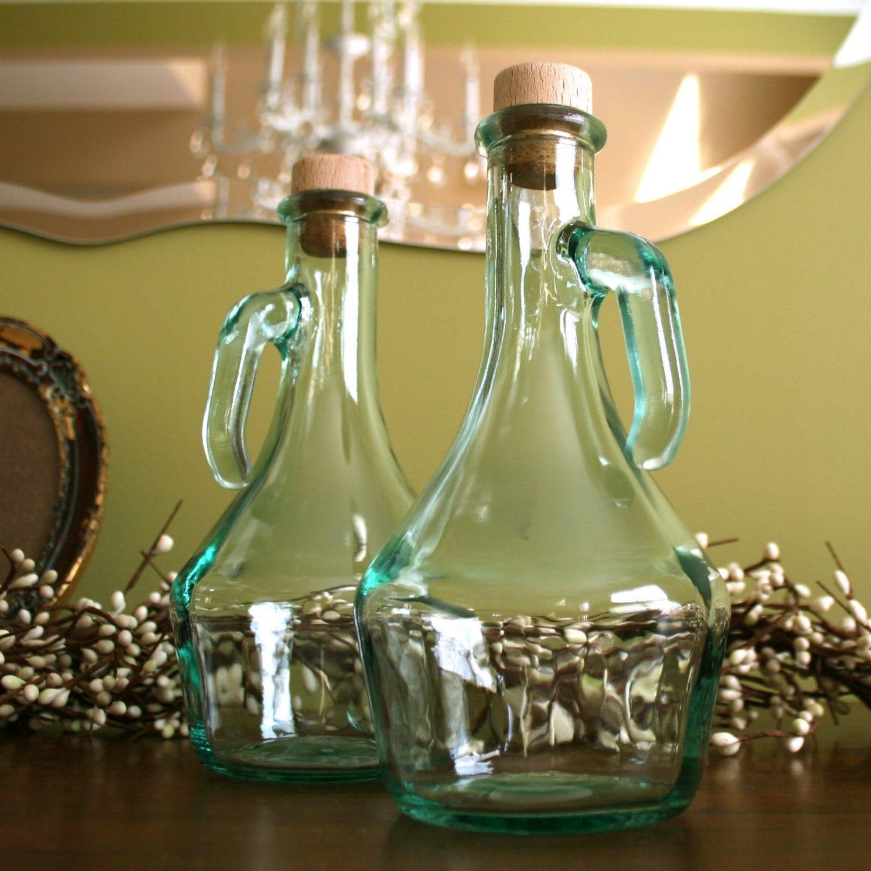 oil and vinegar decanter cruet set with cork lids turquoise. Black Bedroom Furniture Sets. Home Design Ideas