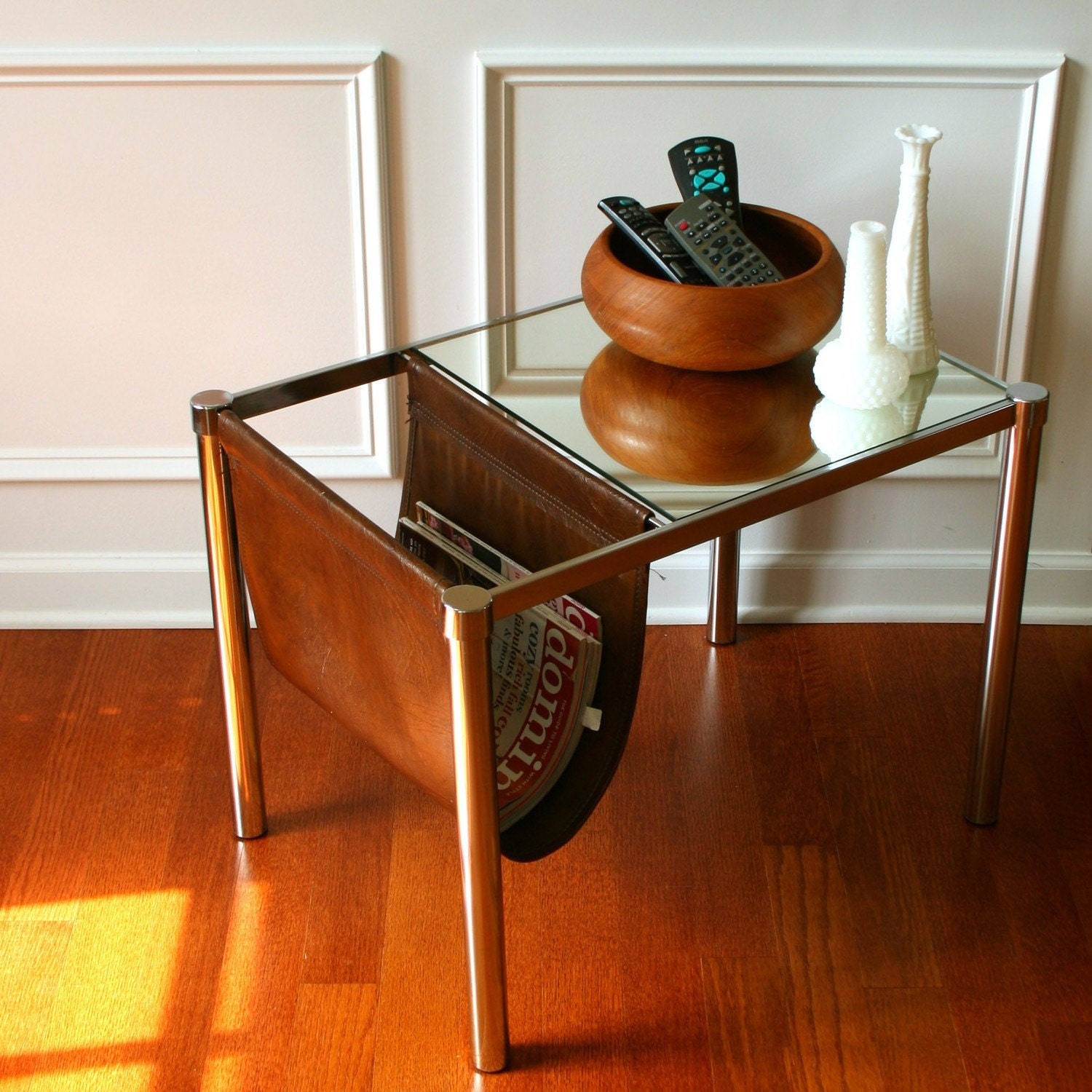 Vintage Industrial End Side Table Magazine Rack By