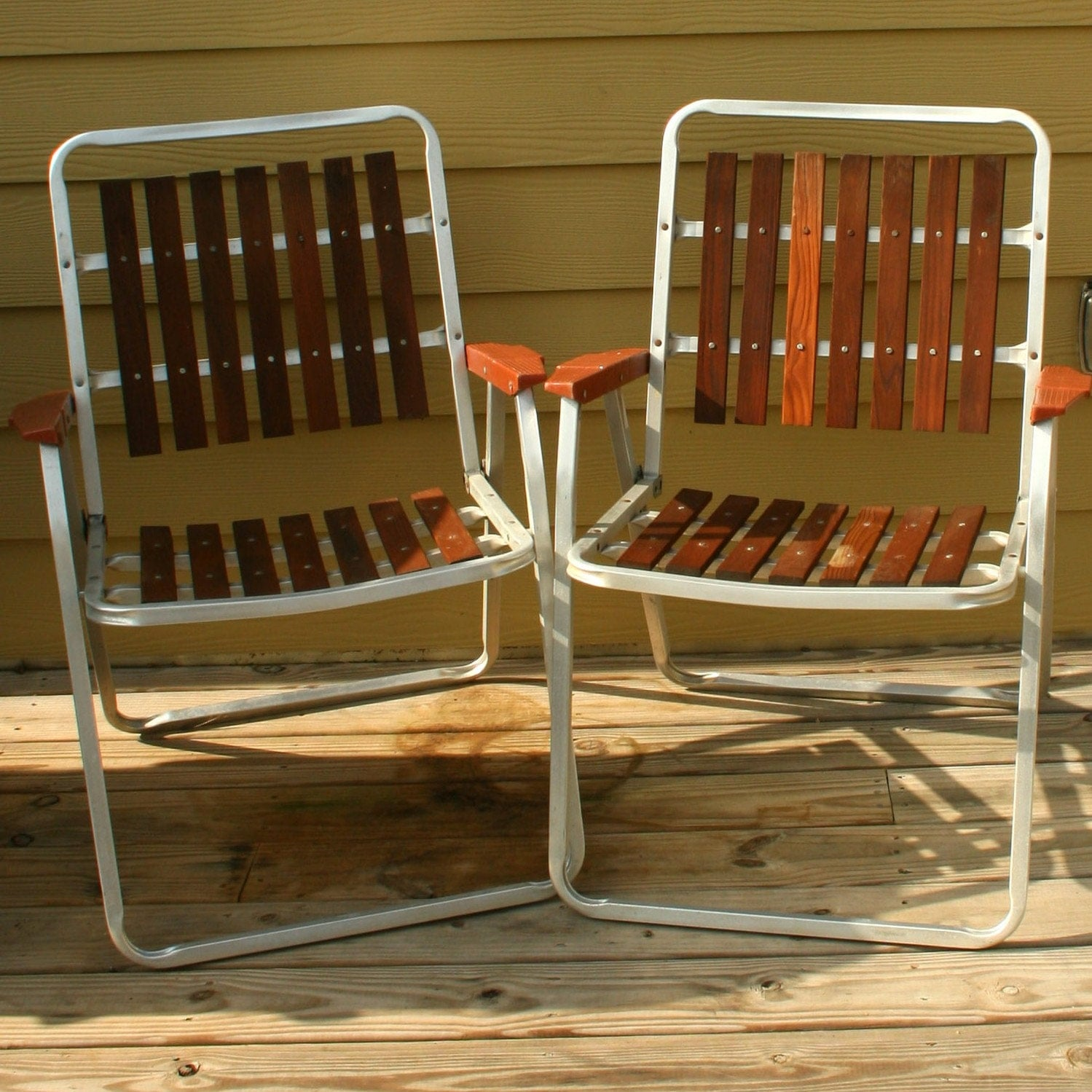 Vintage Folding Lawn Chairs Mid Century Modern By