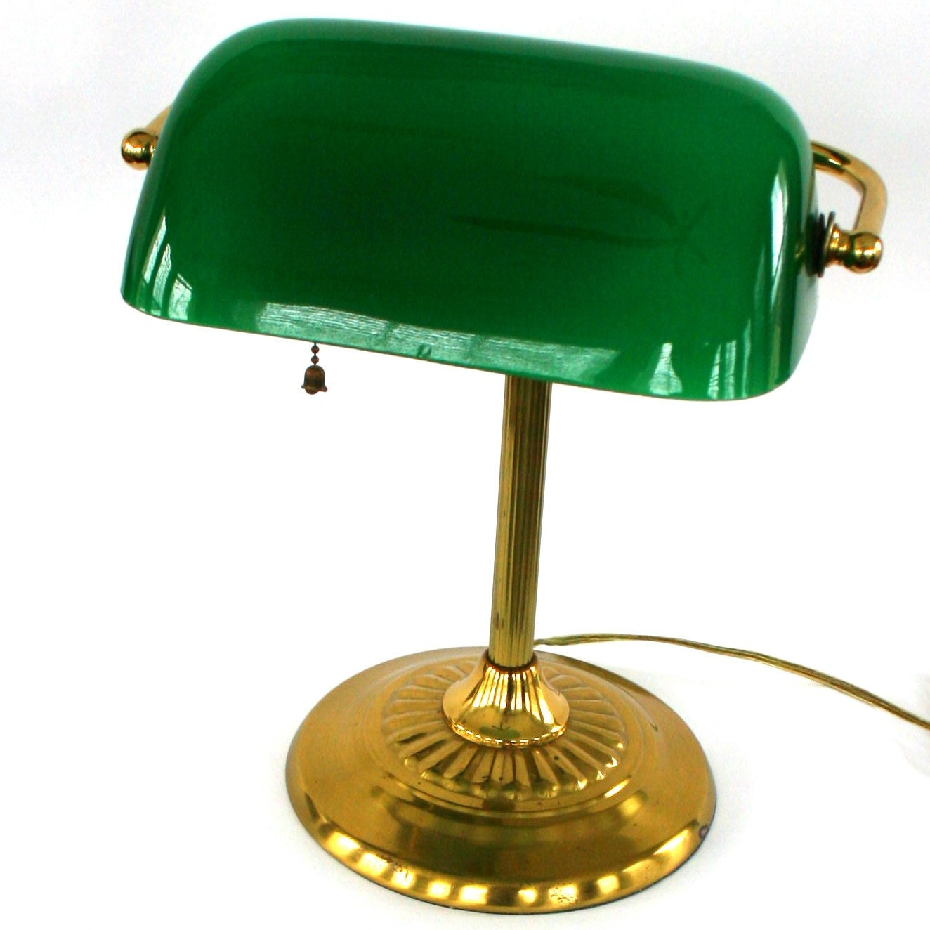 Vintage Bankers Lamp Brass Glass Kelly Green Emerald Home