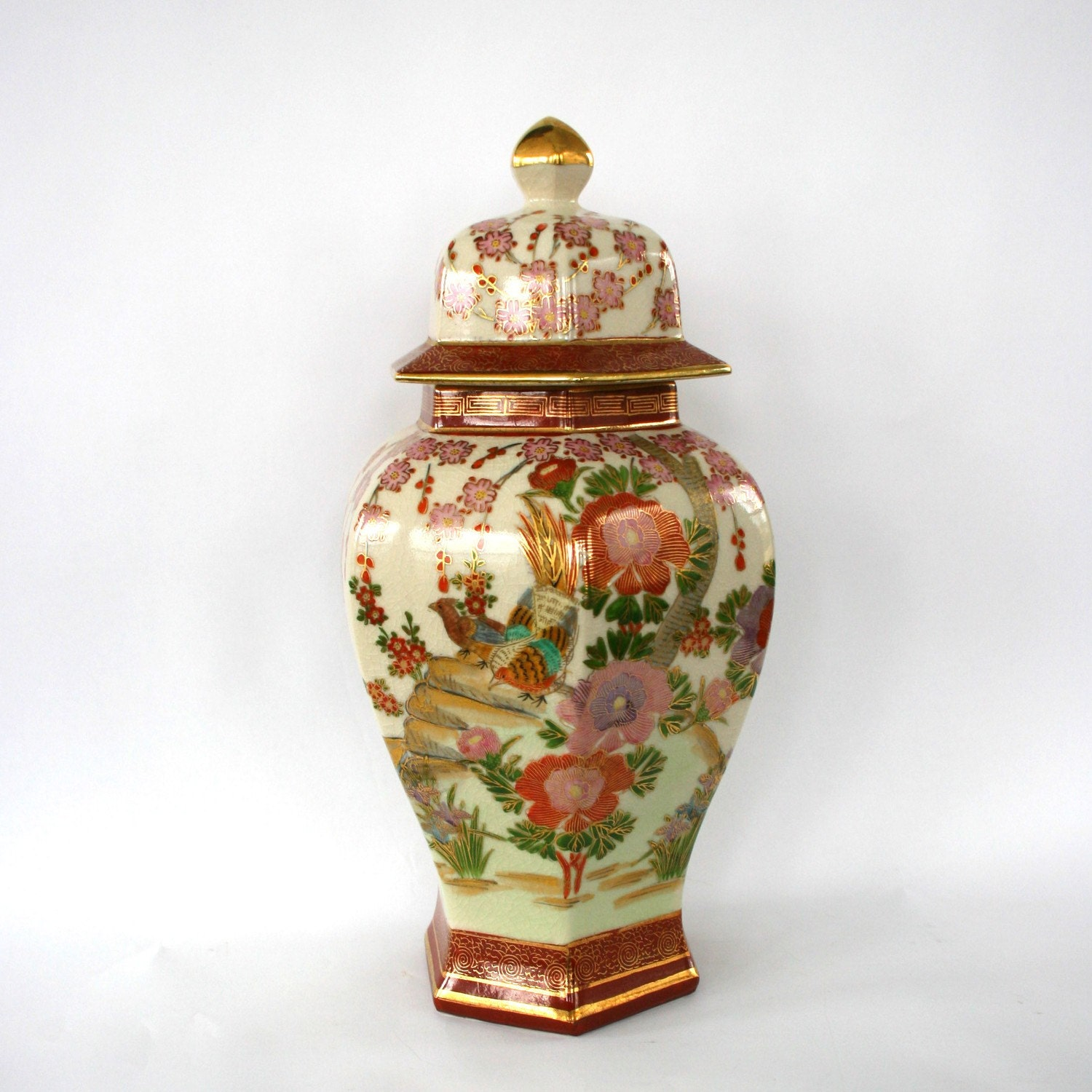 Vintage Japanese Ginger Jar With Lid Vase Birds Cherry