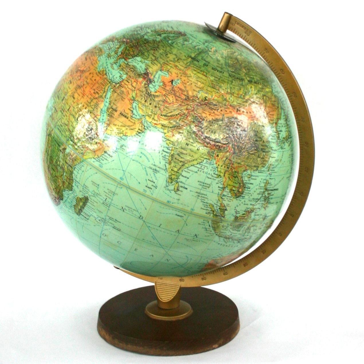 Home Decor Antiques Vintage World Book Globe Replogle Unisex Gift Men Centric