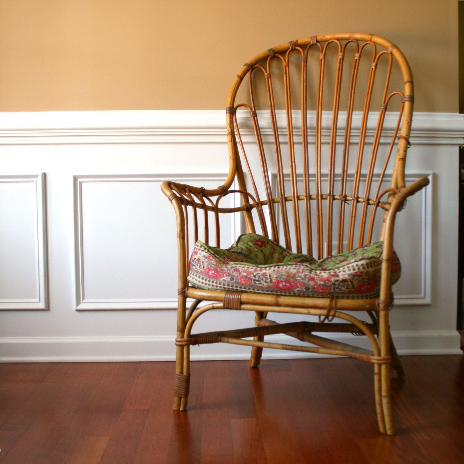 Vintage Cane Patio Chair High Back Armchair By