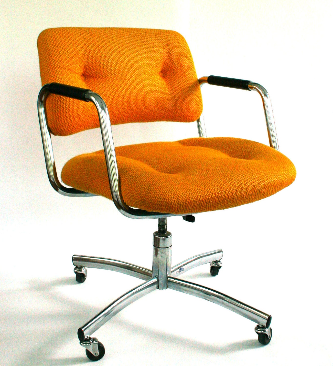 Vintage office desk chair mid century upholstered mustard - Retro office desk ...