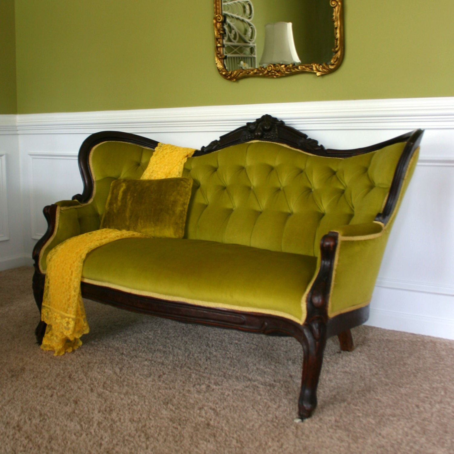 Victorian Couch: Antique Victorian Sofa. RESERVED For STACIE. Settee. Moss