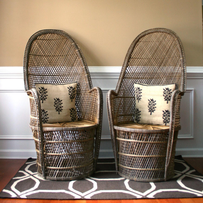 Pair High Fan Back Chairs. Throne Chairs. Armchair. Rattan.