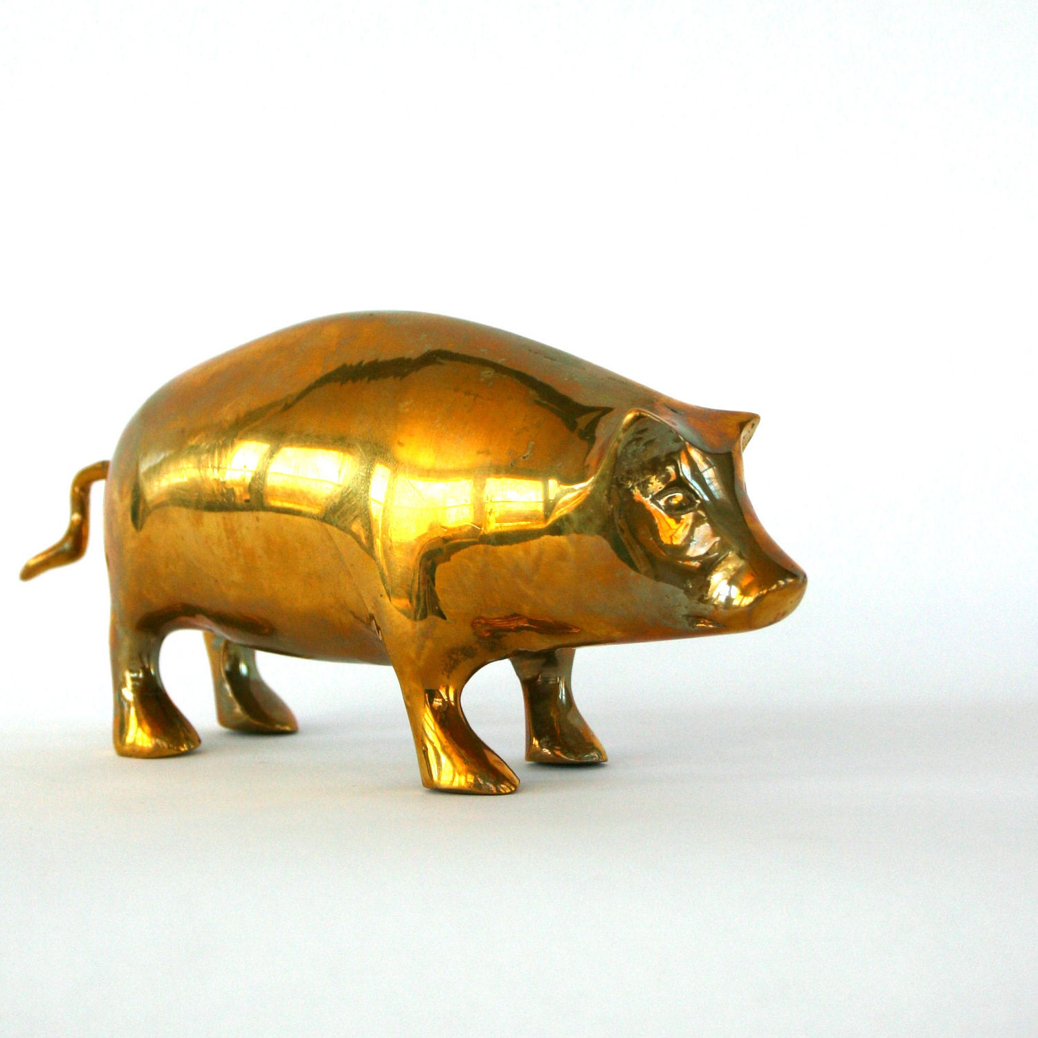 Primitive furniture - Vintage Brass Pig Figurine Gold Golden Spring Home Decor