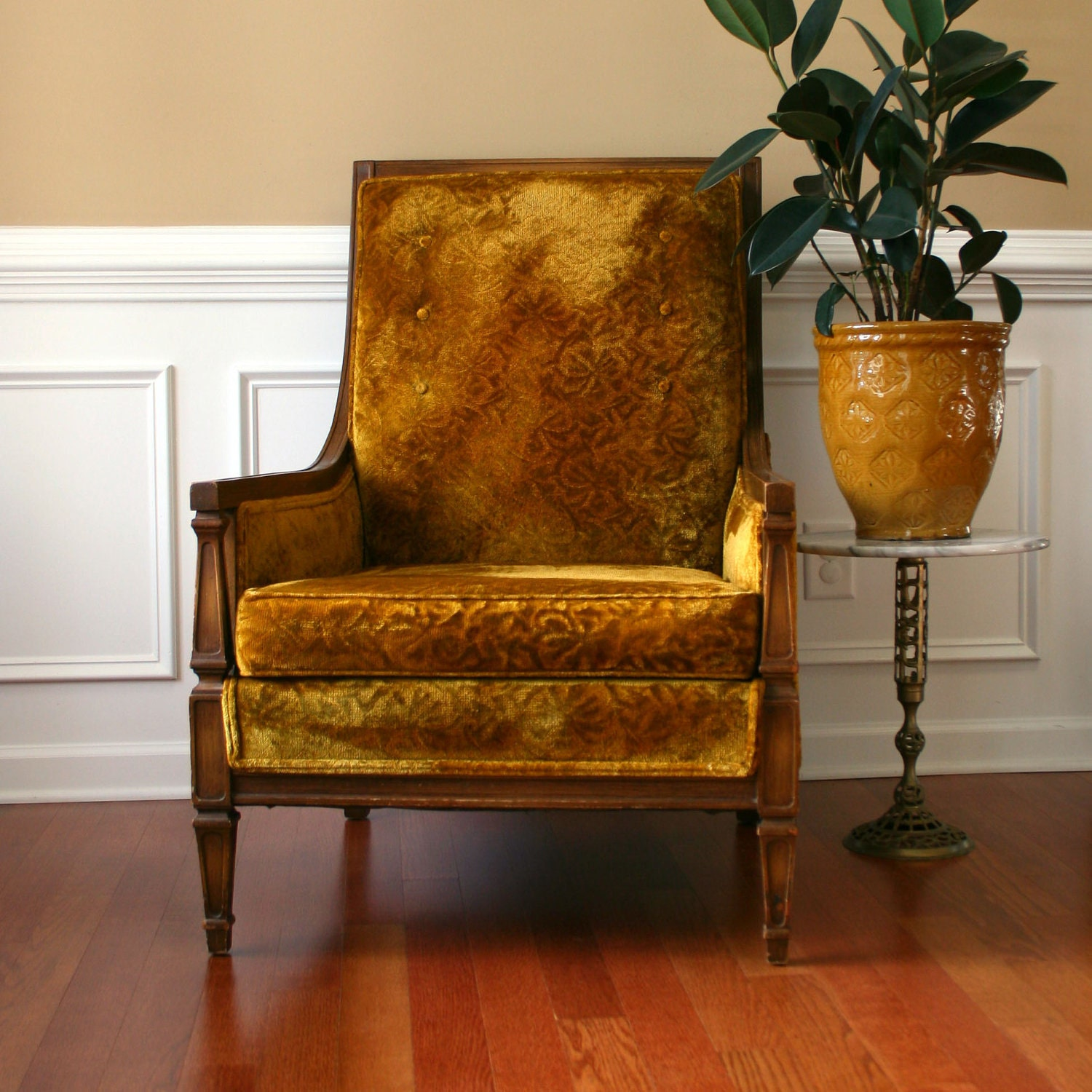 Upholstered Chair Golden Mustard Velvet High Back Lounge