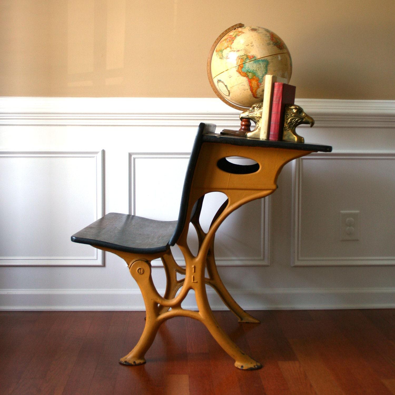 industrial school desk bench desk chair bamboo mustard. Black Bedroom Furniture Sets. Home Design Ideas