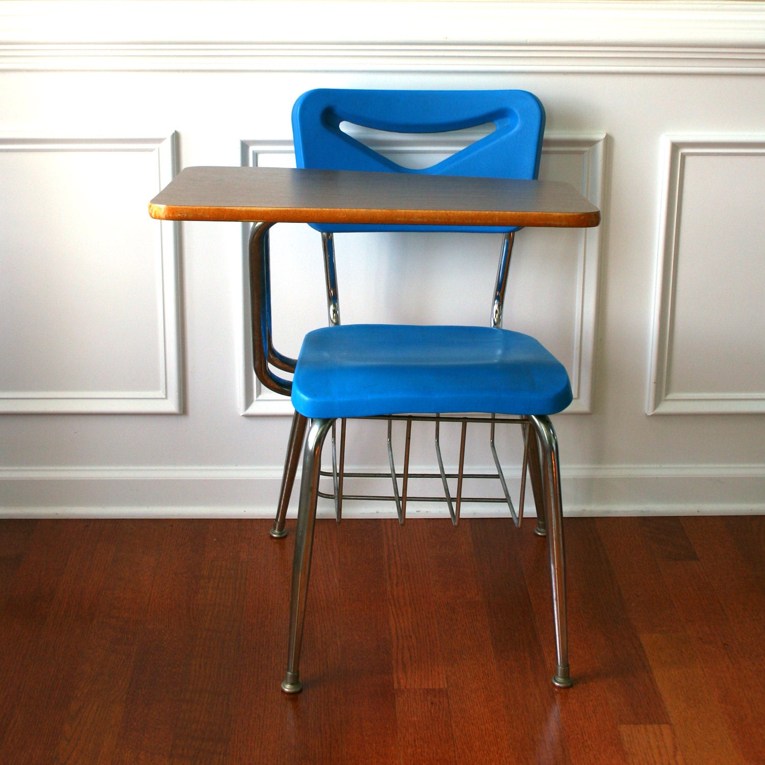 Vintage modern school desk storage chair metal plastic blue for Chair with storage