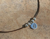 Shiny Silver Leaf Leather Cord Necklace