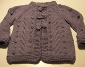 Baby Set - Purple Cardigan with Cables and Bobbles  - A Tassel on Top Hat - Custom Order