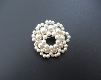 Faux Pearl and Rhinestone Brooch