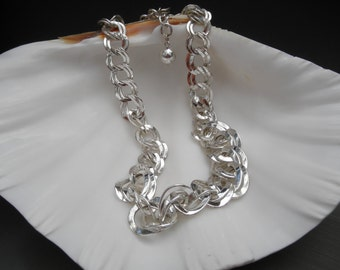 Vintage Silver Tone Double Link Necklace