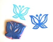 Butterfly flower hand carved rubber stamp