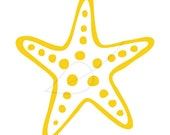 Starfish digital stamp clip art in yellow and black