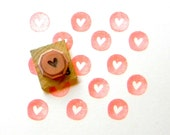 Mini heart rubber stamp - hand carved and wood mounted