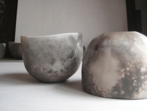 Pair of Pit-fired Ceramic Whiskey Cups - 6 oz