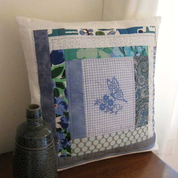 Butterfly Kisses - Quilted Embroidered Crazy Patchwork Blue Pillow Cover