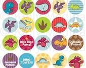 Dinosaur - 1.5 inch Circle Digital Printable Collage Sheet - Commercial use for Cupcake Toppers, Magnets, Paper Crafts and Products
