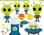 Aliens - Clip Art Set - Digital Elements Commercial use for Cards, Stationery and Paper Crafts and Products