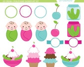 Ice Cream and Pickles Baby Shower - Clip Art Set Digital Elements for Cards, Stationery and Paper Crafts and Products